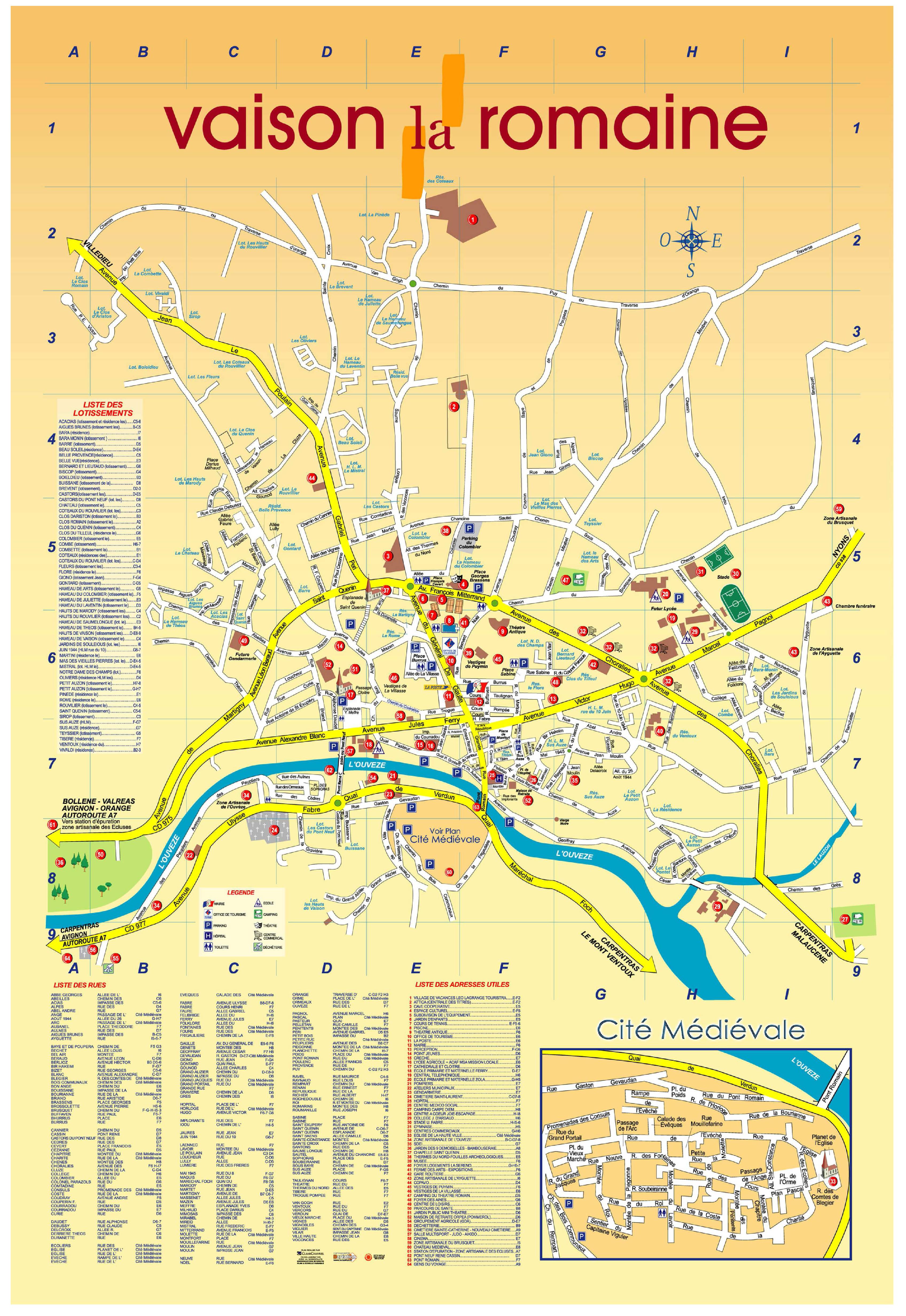 Plan de la ville vaison la romaine villa la provence - Office du tourisme de vaison la romaine ...